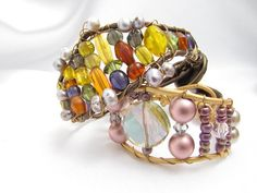 Women's Crystal and Pink Pearl Wrap Bracelet with by PlethoraGifts, $18.00