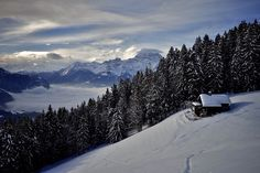 Weekend cabin above Chesières, Switzerland. Simms - this is the only way you will get me in snow.a beautiful cabin and an amazing view. Paris Hilton, Ski, Beautiful Homes, Beautiful Places, Off Grid Cabin, Little Cabin, Snowy Mountains, Cabins And Cottages, Log Cabins