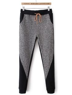 Pantalón bolsillos cintura elástica-Gris EUR€22.54