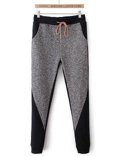 Grey Elastic Waist Drawstring Pockets Pant
