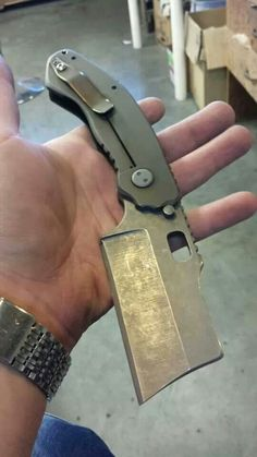 This Debt Collector from Trouble Blades shows how talented Canadian custom knife makers are! Especially Tim Bakonyi from Trouble Blades! Sick looking folding cleaver! Sick!