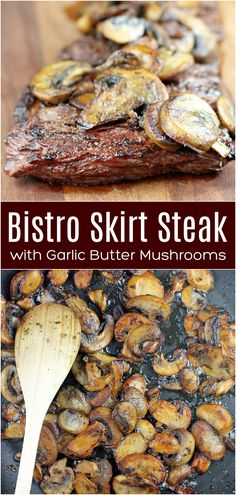 Healthy Steak Recipes, Flank Steak Recipes, Beef Recipes For Dinner, Meat Recipes, Cooking Recipes, Recipies, Steak And Mushrooms, Stuffed Mushrooms, Skirt Steak Recipes