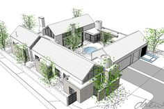 drew architects | courtyard farmhouse | perspective