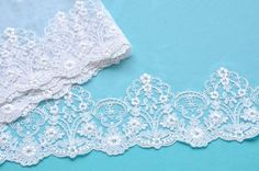 White Lace Trim White Royal Floral Lace Wedding by VintageToLiveBy