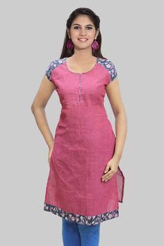 CONFESSION9 — Pink With Blue Piping Kurta