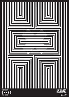 Graphic Prints The XX poster Op Art, Art Optical, Optical Illusions, Band Posters, Cool Posters, Poster Design, Design Art, Mim Design, Arte Linear