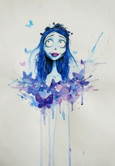 Water color, Corpse bride of Tim Burton I've offered this painting for my friend ! She loves Tim Burton's films (and me too. Tim Burton Stil, Tim Burton Kunst, Estilo Tim Burton, Tim Burton Art, Tim Burton Drawings, Disney Kunst, Disney Art, Dark Disney, Tattoo Liebe