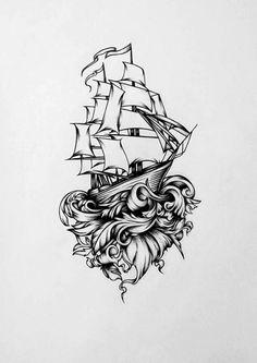 ship Art Print by sigicha Art Drawings Sketches, Tattoo Sketches, Tattoo Drawings, Body Art Tattoos, Sleeve Tattoos, Boat Drawing, Pirate Ship Drawing, Sailing Tattoo, Neue Tattoos