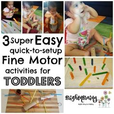 We don't always have the time or energy to create a complicated activity for the kids - These 3 great activities take only minutes to put together! Motor Activities, Toddler Activities, Fine Motor, Super Easy, Parenting, Kids Rugs, Children, Baby Baby, Posts