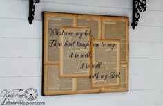 Repurposed Book Page Canvas Wall Art Hymn Lyrics It is Well With My Soul by Knick of Time