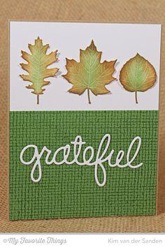 Burlap Background, Falling Leaves Die-namics, Words of Gratitude Die-namics - Kim van der Sanden #mftstamps
