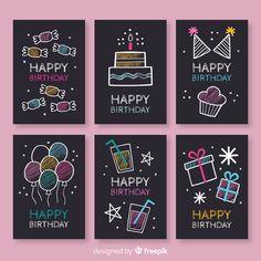 Creative Birthday Cards, First Birthday Cards, Happy Birthday Signs, Birthday Greetings, Happy Birthday Chalkboard, Birthday Doodle, Birthday Card Drawing, Free Birthday, Chalkboard Designs