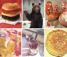 SOUND: https://www.ruspeach.com/en/news/1492/       Россия [rassìya] - Russia  блины [bliny] - pancakes  красная икра [kràsnaya ikrà] - Red caviar  чёрная икра [chyòrnaya ikrà] - black caviar  матрёшка [matryòshka] - matryoshka  медведь [midvèd'] - bear  леденцы [lidinc`y] - sweetmeats, lollipops     www.ruspeach.com