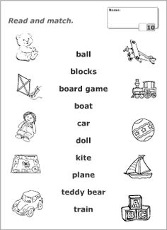 Printable read-and-match worksheets for kids to learn, practise and revise English vocabulary. Resources for ESL teachers. English Activities For Kids, Learning English For Kids, English Worksheets For Kids, English Lessons For Kids, Kids English, Teaching English, Learn English, Vocabulary Worksheets, Vocabulary Words