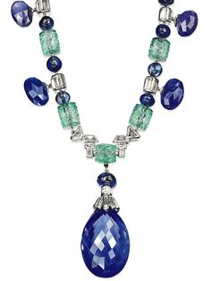 Roll out the barrels: circa 1930s sapphire, emerald, and diamond necklace. Signed Cartier, no. 850.