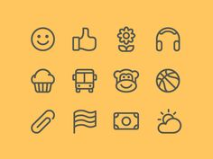 The emoji set that I am currently building will be organized by several main categories within the app.  • Emotions • Gestures • Nature  • Technology  • Food  • Transportation • Animals  • Spo...
