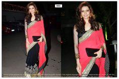 Designer Saree,  Fabric:-Georgette  Blouse Fabric:-Dhupian  Designer Saree,  Color:-Pink & Black  Blouse Color:-Black