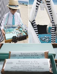 Glam Beach Party: Old Hollywood + Tiffany Blue. Credit:  Shawna Brockmeier Styled Events