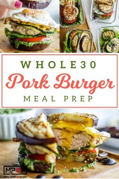 Pork Burger Meal Prep recipe - These pork burgers are topped with grilled zucchini and sandwiched in an eggplant bun. A delicious (and Keto) compliant pesto and a fried egg put them over the top! Paleo Meal Prep, Lunch Meal Prep, Easy Meal Prep, Easy Meals, Dinner Meal, Keto Meal, Keto Dinner, Lunch Recipes, Healthy Dinner Recipes