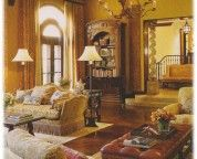Living Rooms. . Exquisite Royal Tuscan Style Interior Living Room with Stylish Brown Chesterfield Table and Beautiful Floral Pattern Sofa also Adorable Chandelier