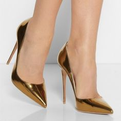 Gold Stylish Stiletto Heels Pumps Shoes Gold Metallic Heels Pointy Toe Stiletto Heel Pumps for Office Lady for Formal event, Music festival, Ball, Big day, Going out Platform High Heels, High Heels Stilettos, Stiletto Heels, Gold High Heels, Metallic Heels, Studded Heels, Fashion Heels, Lace Up Heels, Pointed Toe Pumps