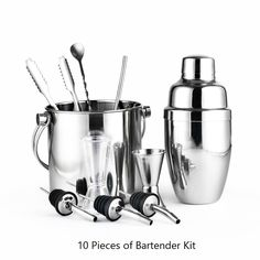Greenhill 10 Pieces Barware Set / Cocktail shaker set  including shaker (550ML) / Bucket / Tong / Jigger / Spoon / Straw