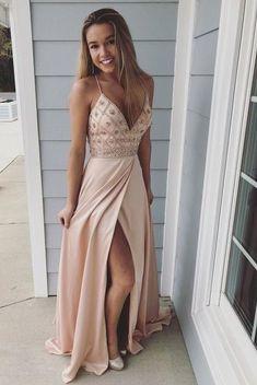 Straps V Neck Beads Long Prom Dress with Side Slit G250
