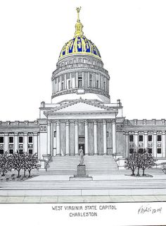 West Virginia State Capitol Print by Frederic Kohli.  All prints are professionally printed, packaged, and shipped within 3 - 4 business days. Choose from multiple sizes and hundreds of frame and mat options.