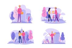 Home delivery worker collection Free Vec. Illustration Story, People Illustration, Character Illustration, Blank Banner, People Poses, Thought Bubbles, Team Leader, Young People, Cartoon Characters