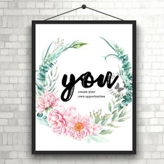 You create your own opportunity | #Inspiration Poster | Home Decor Print | #Printable Quote | #Typography | #Office Decor #Printable by InspirationWallDecor on Etsy. Check more #digitalprint #walldecor #artprint themed at my #etsy store:  www.etsy.com/shop/InspirationWallDecor