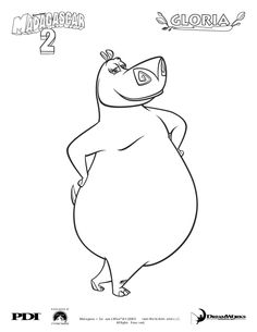 Madagascar 2 : Gloria coloring page - Coloring - Famous character coloring pages - Madagascar 2: Escape 2 Africa coloring pages