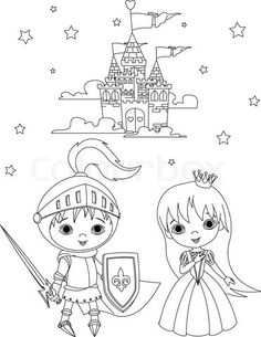 High resolution royalty free vector graphic of a knight and princess kids beside a castle - coloring page. This fairy tale stock vector image was designed and digitally rendered by Pushkin.