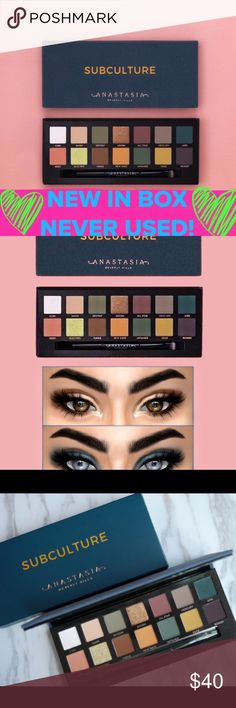 NWT! ANASTASIA SUBCULTURE EYESHADOW PALLET BRAND NEW IN THE BOX, NEVER USED-SWATCHED, ETC!!  Anastasia Subculture eyeshadow pallet. Includes 14-shades & 1 dual sided eyeshadow brush. Features shades that range from grungy mattes to bold metallics. ALSO FEATURES: 📍Ultra matte, duo chrome & metallic finishes 📍Full pigment with easy-to-blend formula See pic #4 for the actual range of these gorgeous colors! Anastasia Beverly Hills Makeup Eyeshadow