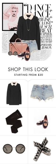 """studded."" by cherrybomb101 ❤ liked on Polyvore featuring Cyrus, Miu Miu, Ksubi, Trasparenze, See by Chloé, Jeffrey Campbell, The Row, Topshop, round sunglasses and top handle bags"