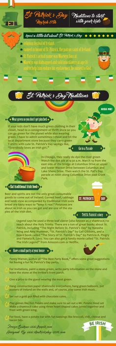 Traditions to start with you kids on St. Traditions To Start, Irish Recipes, St Patricks Day, Coloring Pages, Infographic, Traditional, Holidays, Kids, Crafts