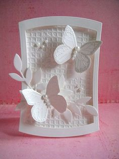 Wedding card cute love card A handmade card holder with tabs to divide the cards into categories! Wedding card Elegant white on whi. Wedding Anniversary Cards, Wedding Cards, Cute Cards, Diy Cards, Butterfly Cards, White Butterfly, Butterfly Wedding, Embossed Cards, Wedding Card Templates