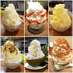 """Kakigori (Shaved Ice) ♡ Osaka, Japan   """"Kakigōri (かき氷?) is a Japanese shaved ice dessert flavored with syrup and a sweetener, often condensed milk. It is similar to a snow cone, but with some notable differences: it has a much smoother fluffier ice consistency, much like fresh fallen snow."""" - Wikipedia :)  It's incredibly light and airy. An edible work of art ♡ (From top left: Banana, Strawberry Cheesecake, Pineapple, Sweet Potato, Coconut, Tiramisu.)"""