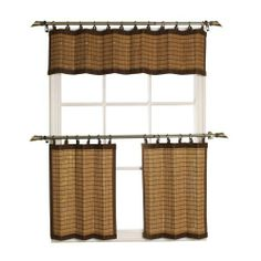 Versailles Home Fashions Bamboo Wood Ring Top Tier Set - Brown Bamboo, Home, Kitchen Window Treatments, Stairs In Living Room, House Styles, Curtains, Valance, Home Kitchens, Bamboo Shades