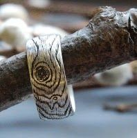 Contour Lines/Tree Bark Sterling Silver Men's Wedding Band | neat idea for his ring