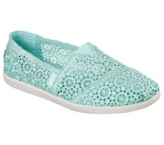 Go for a whirl in pretty and cool comfortable style with the SKECHERS Bobs World - Cartwheels shoe.  Soft pinwheel crochet fabric upper in a slip on casual comfort alpargata flat with stitching and overlay accents.  Memory Foam insole.