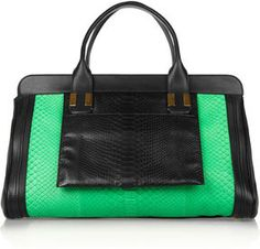 Chloé Alice python and leather tote in black/bright green. Cheap Michael Kors Bags, Michael Kors Handbags Outlet, Designer Handbags Outlet, Handbags On Sale, Designer Purses, Wholesale Handbags, Luxury Handbags, Mint Bag, Juicy Couture Handbags