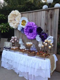 Purple bridal shower party!  See more party planning ideas at CatchMyParty.com!