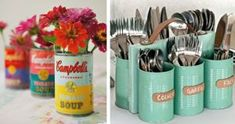 35 Creative DIY Ideas With Tin Cans Love thrifty DIY crafting ideas If you ve not yet discovered that you can make some super awesome crafts with repurposed nbsp hellip Upcycled Crafts, Diy Crafts, Tin Can Centerpieces, Decoupage Tins, Painted Tin Cans, Tin Can Flowers, Tin Can Lanterns, Recycle Cans, Reuse