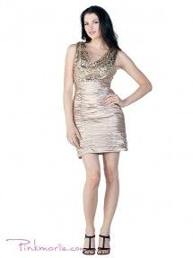 Champagne Stunning Short Dress with Lightly Draped Sequin Bodice