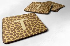 Set of 4 Monogram - Giraffe Foam Coasters Initial Letter T