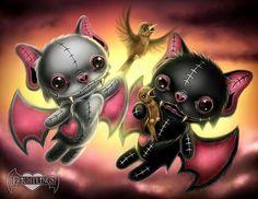 Frightlings: Vladimir and Vincent Batling. The Batling Brothers. Dark Fantasy Art, Dark Art, Voodoo Doll Tattoo, Voodoo Dolls, Anime Chibi, Manga Anime, Princesas Disney Dark, Art Sinistre, Image 3d