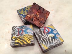 Another decadent hand painted chocolate creation...it's DaBomb! Dark chocolate studded with apple wood bacon and black lava sea salt...sandwiched with brandied marshmallow and bacon-studded creamy caramel. Want some? www.luxxchocolat.com