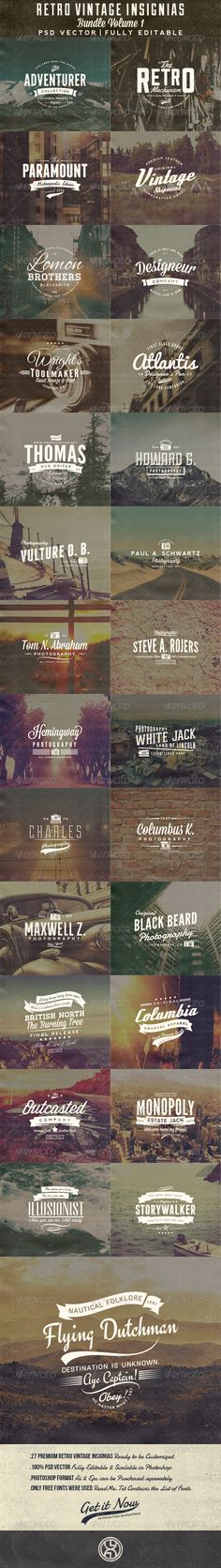 27 Retro Vintage Insignias Bundle Volume 1 - Badges & Stickers Web Elements Scripture font for g&g wide tracking on a sans-serif caps t Typography Letters, Typography Logo, Graphic Design Typography, Hand Lettering, Vintage Typography, Vintage Logos, Retro Logos, Web Design, Logo Design