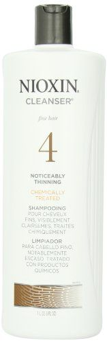 Nioxin System 4 Cleanser for Fine Chemically Treated Hair, Ounce A daily volumizing cleanser Gently removes residue and DHT from the scalp and hair to promote a healthy scalp environment Provides nourishing vitamins, proteins and amino acids Shampoo For Thinning Hair, Hair Loss Shampoo, Nioxin System 4, Best Hair Loss Products, Healthy Scalp, Hair Thickening, Best Shampoos, Cleanser, Fine Hair