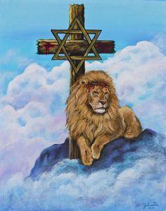 The Lion of the tribe of Judah Tribe Of Judah, Prophetic Art, Jesus Is Lord, Jesus Christ, Cross Paintings, King Of Kings, Praise God, Christen, Bible Scriptures